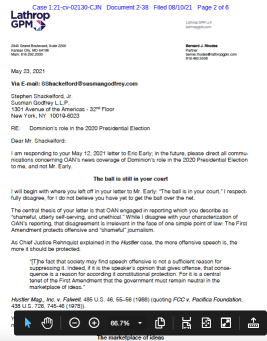OAN lawyer's letter responding to Dominion Voting Systems' retraction demands. (PDF)